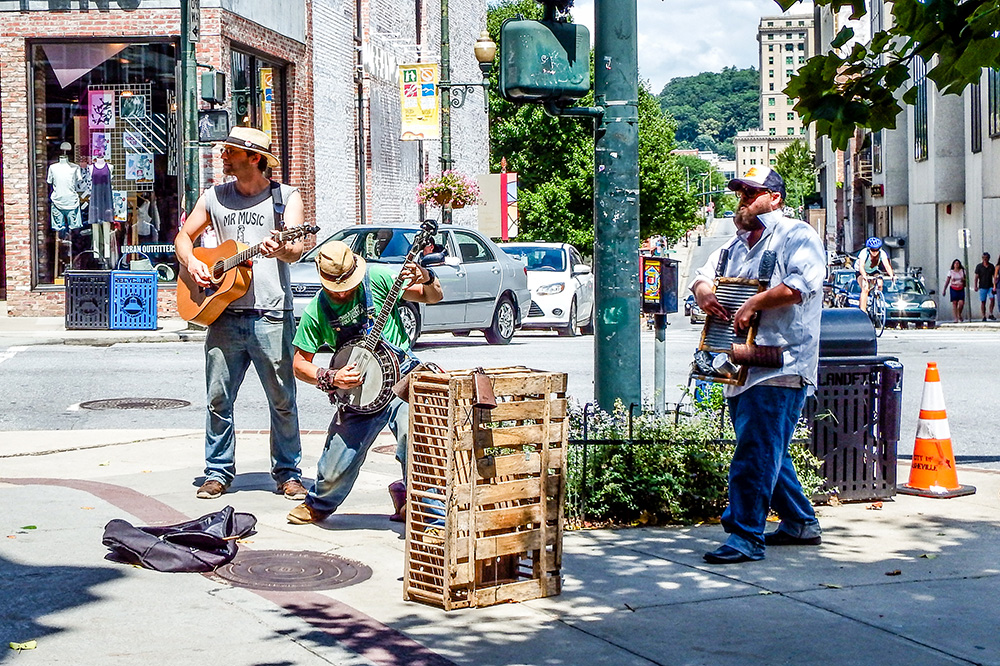 Band entertains passerbys in downtown Asheville.