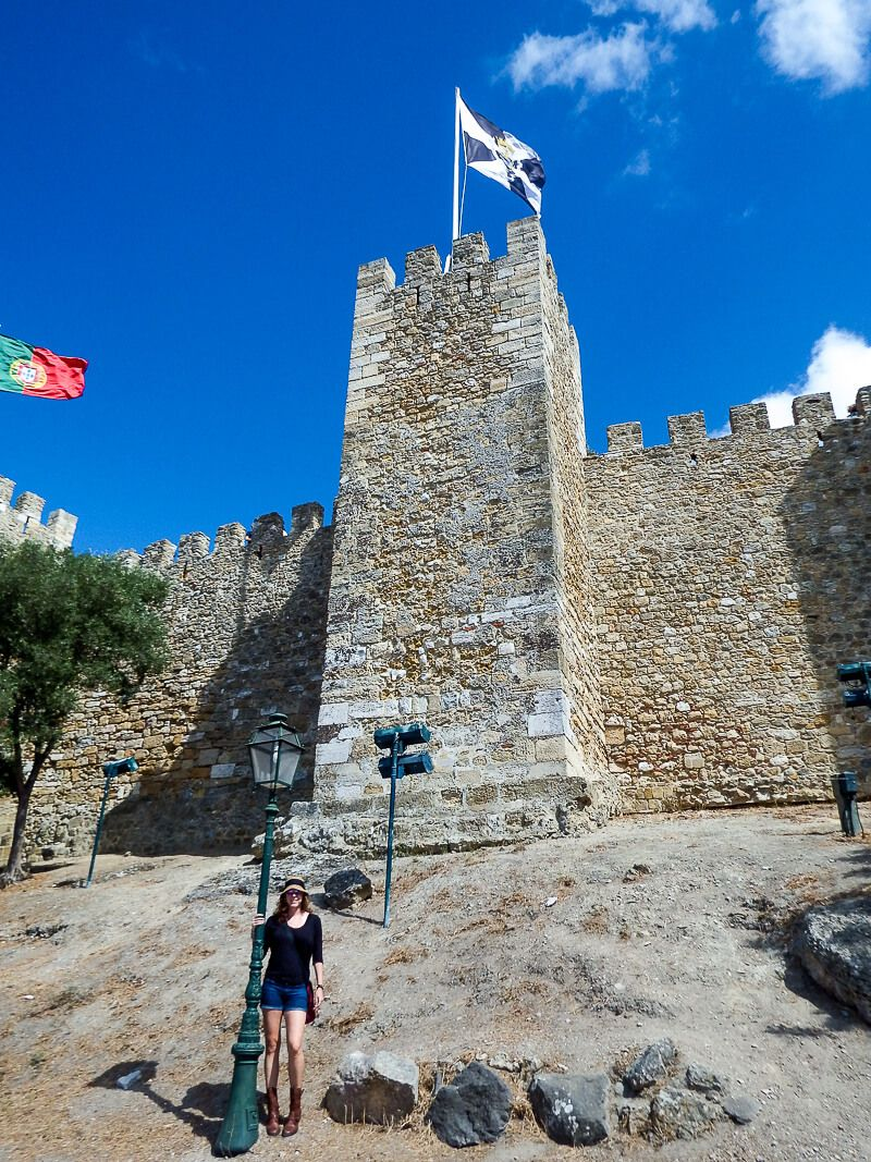 Standing outside Lisbon Castle; portugal itinerary