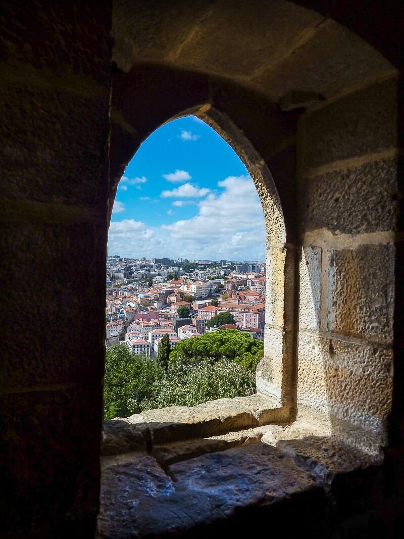A window inside Lisbon Castle; portugal itinerary