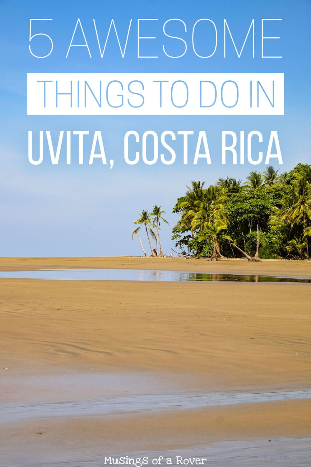 Interested in visiting Uvita, Costa Rica? Want to know about 5 things to do while you are there? Check out this post for the details on the whale's tail, waterfalls, snorkeling, sunsets, and surfing.