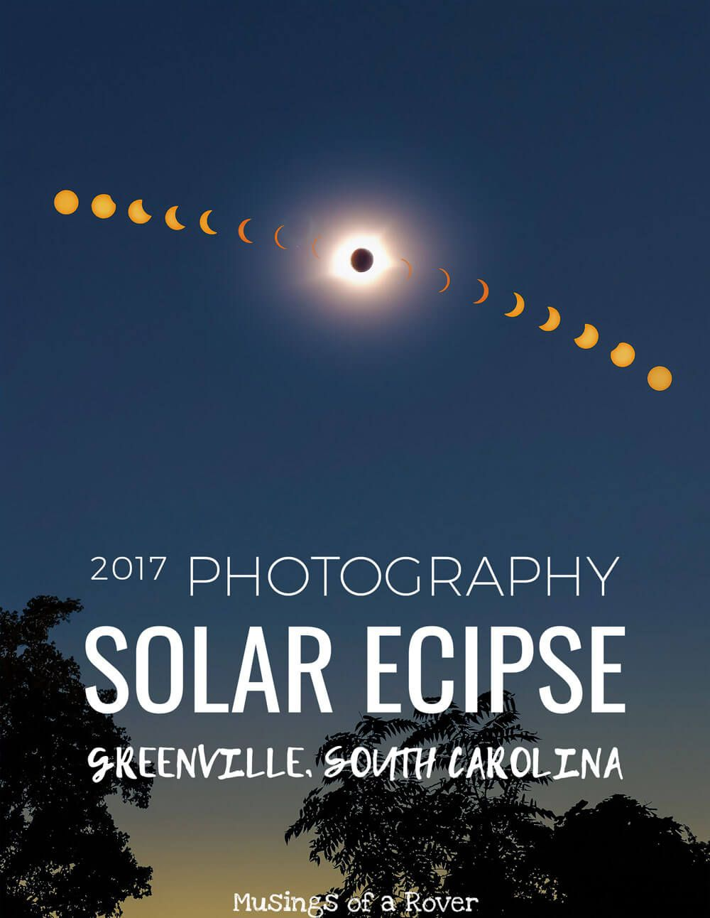 On August 21, 2017, a solar eclipse spanned the USA. From Oregon to South Carolina, it traveled. Here I've collected my best solar eclipse photography shots from Greenville, SC and compiled them. Use these to plan your future solar eclipse photos.