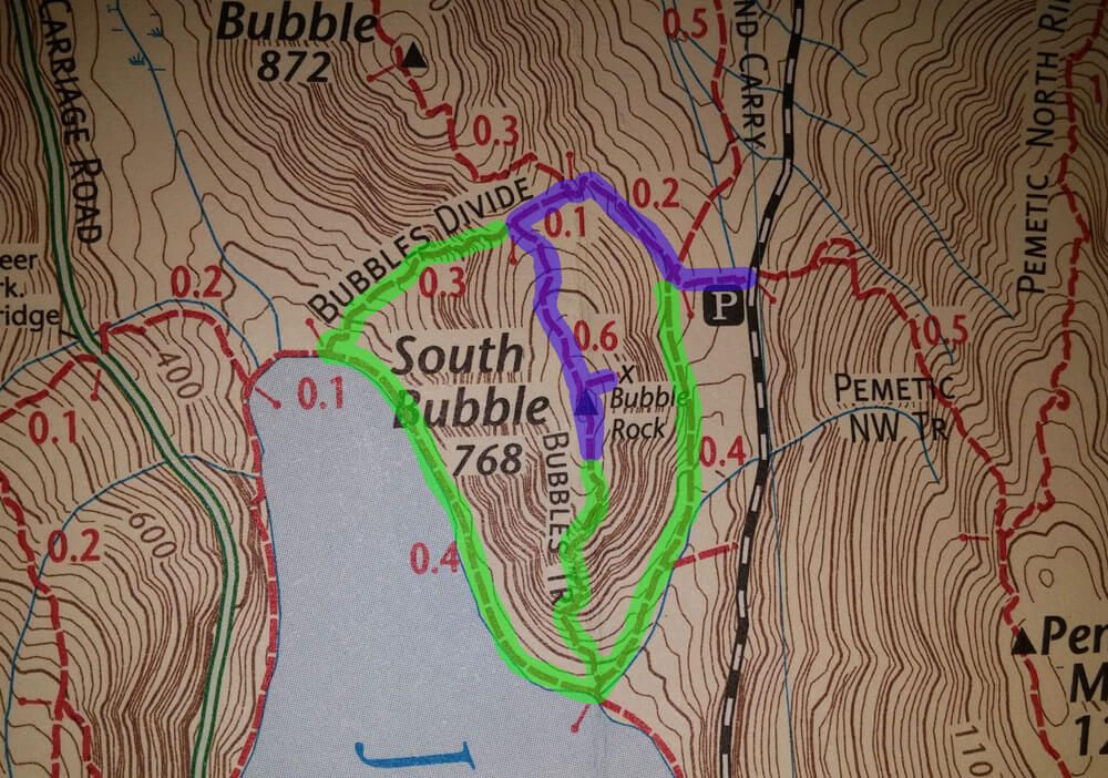 bubble rock trail map
