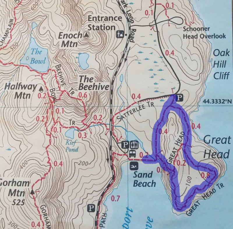 Great Head Trail Guide in Acadia National Park Map