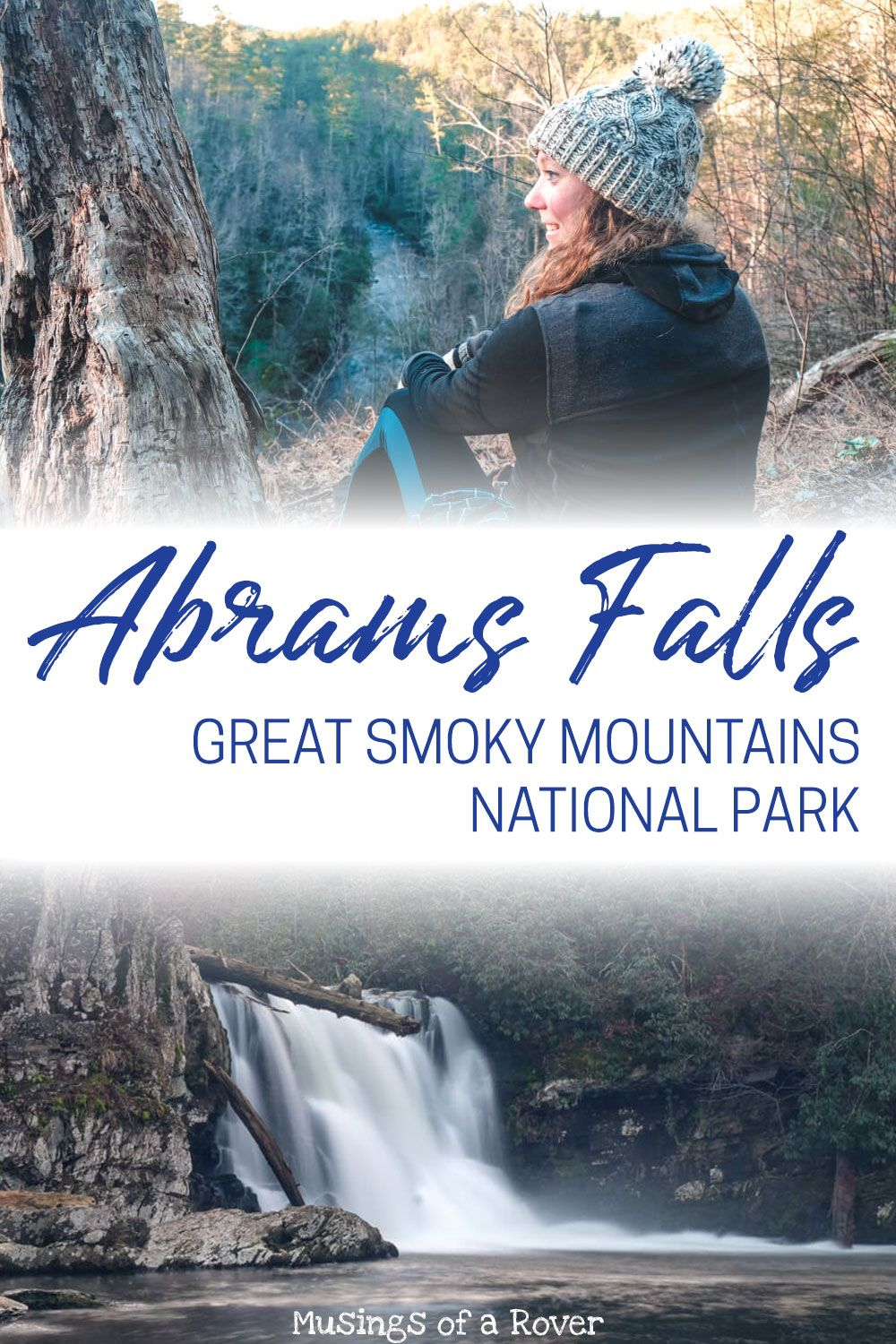 Abrams Falls Trail in Great Smoky Mountains National Park is a great waterfall hike! It's easily accessible from the Cades Cove Loop road and has a large parking lot. The trip to Abrams Falls is 5 miles roundtrip but is relatively flat. Expect to spend 2-3 hours hiking the trail!