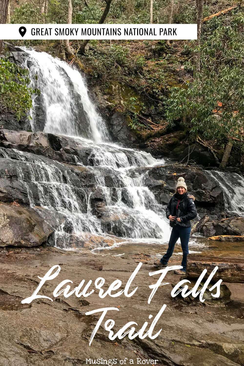 Want to see an 80 foot tall waterfall during your visit to the Great Smoky Mountains National Park? Then add the easy, paved, 2.6 mile Laurel Falls Trail to your trip! It's on the way to Cades Cove and is one of the best things to do in the Smokies. It's also one of the most popular hikes. You won't want to miss it!