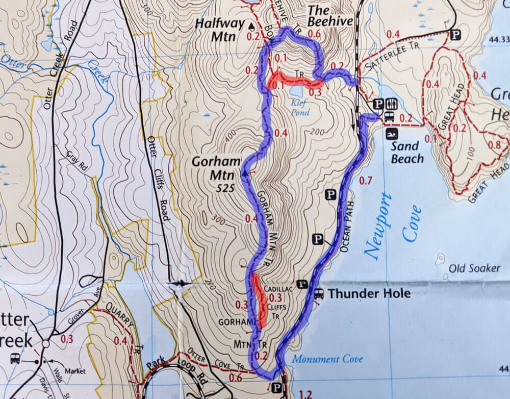 gorham mountain trail map