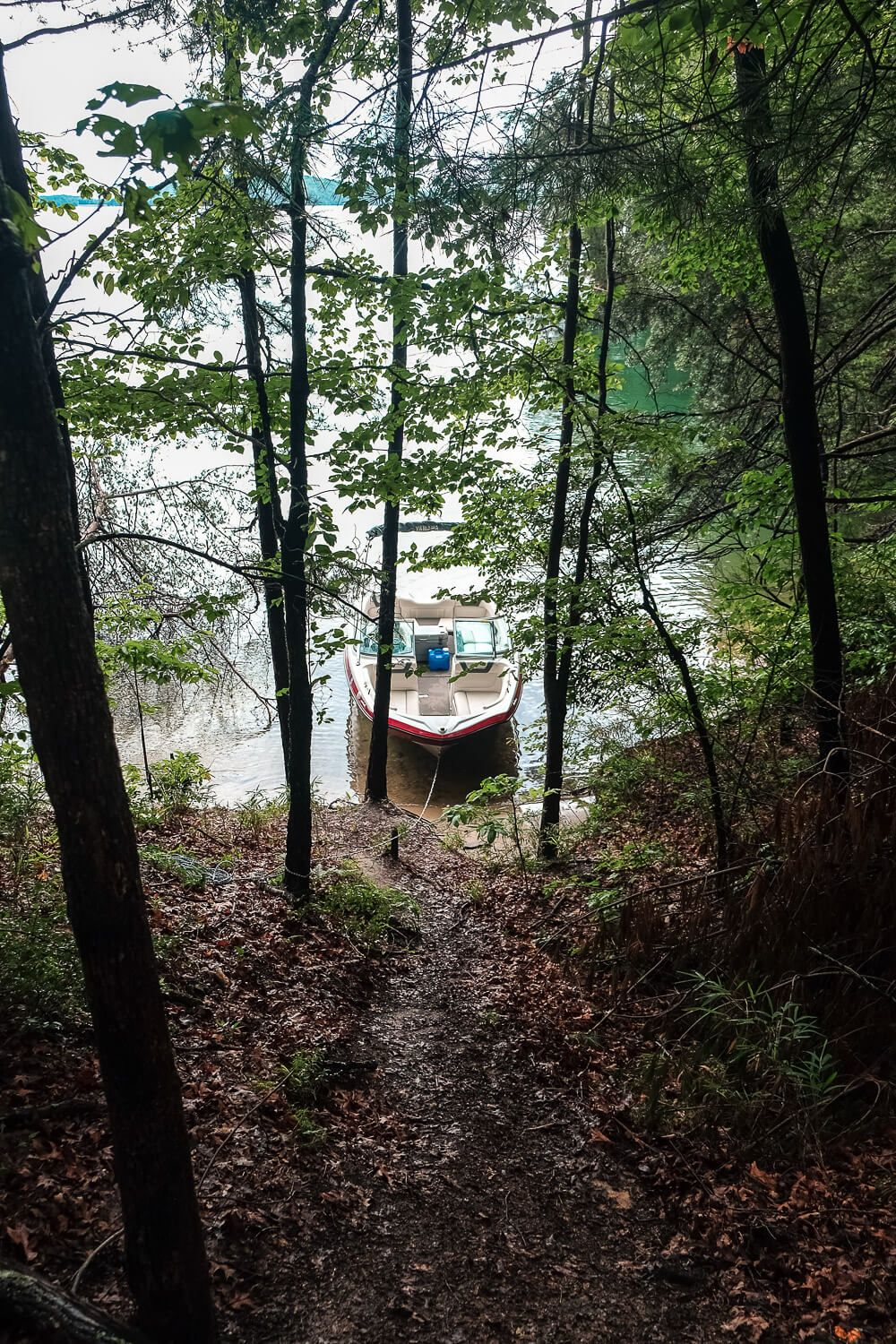 Boat in campsites at lake jocassee