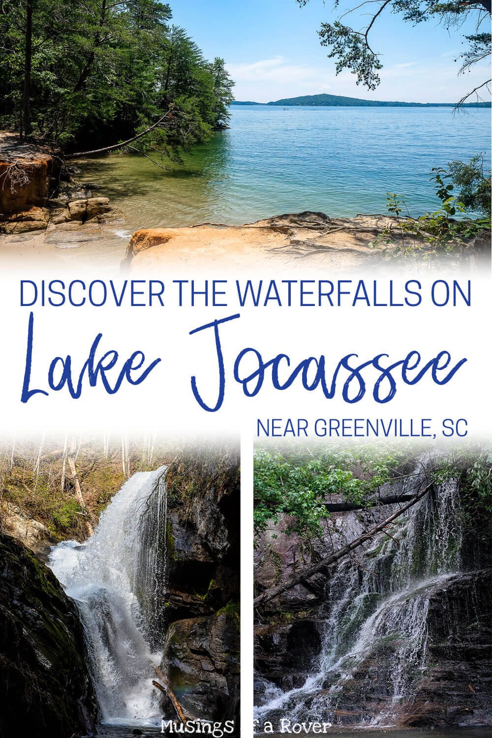 Exploring the Lake Jocassee waterfalls is a perfect way to spend your day on the lake. Discover the Laurel Falls, Wright Creek Falls, and more! Visiting Lake Jocassee is one of my favorite things to do in Greenville, SC!