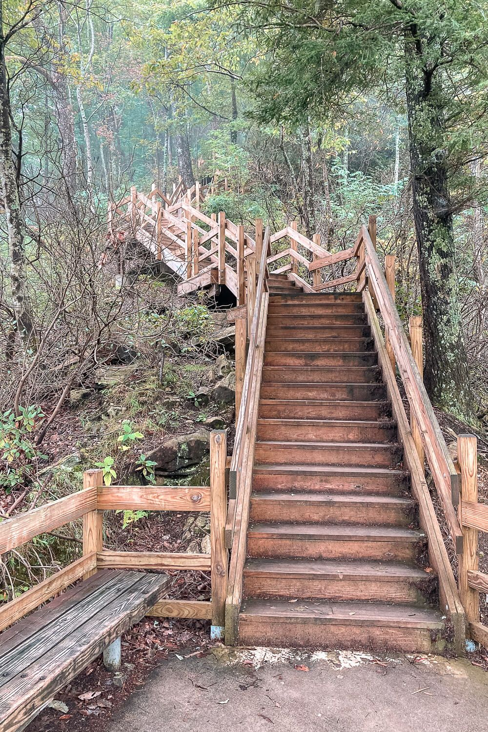 stairs down to the upper whitewater falls overlook