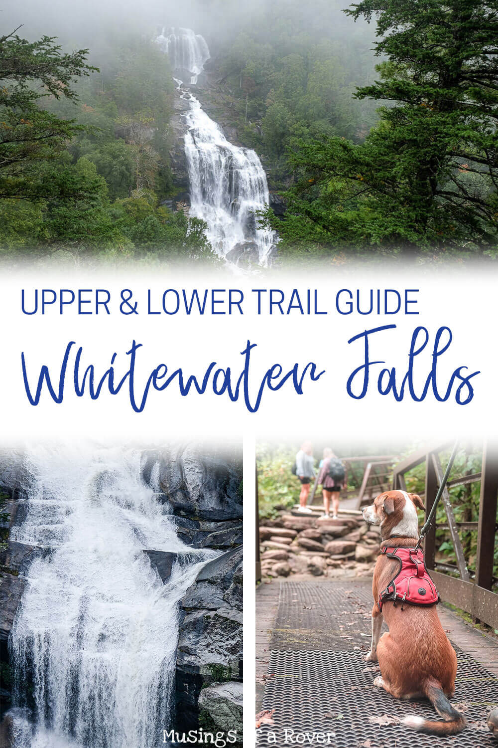 The Upper & Lower Whitewater Falls Trails lead to two amazing +400ft waterfalls. Both have incredible overlooks. And if you like hiking as well then you're in luck. The Lower Whitewater Falls trail is a moderate 5 mile out and back hike. The Upper Whitewater Falls overlook is less than a half mile from the parking lot. Which makes visiting both the perfect day trip from Greenville, SC!