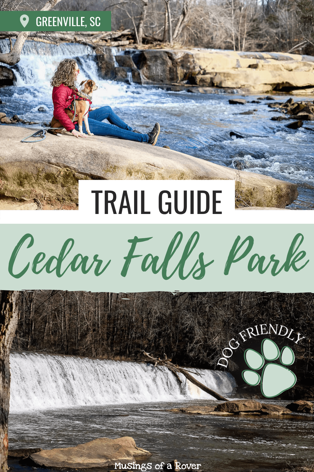 Looking for an easy hike near Greenville, SC? Cedar Falls Park is a small county park in Fountain Inn that's an easy 30 minute drive from downtown. With 4 trails, you can easily spend an hour walking through the woods here. While you're there, be sure to stop by and see the rapids, dams, and waterfalls in he park.