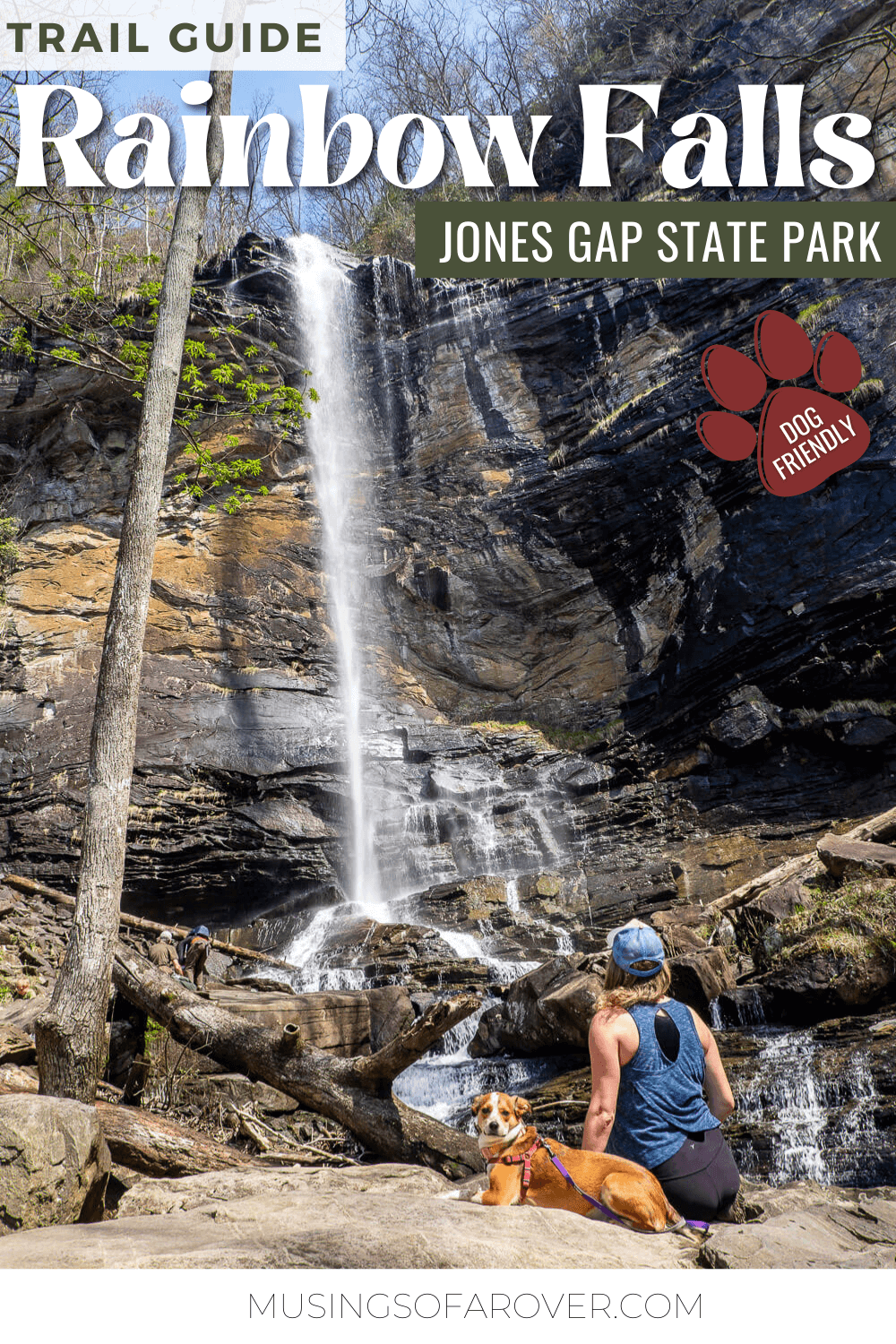 Want to visit one of the best waterfalls near Greenville, SC? Rainbow Falls in Jones Gap State Park makes a perfect day trip! At 140ft it's one of the tallest waterfalls in the region. And this hike is dog friendly!