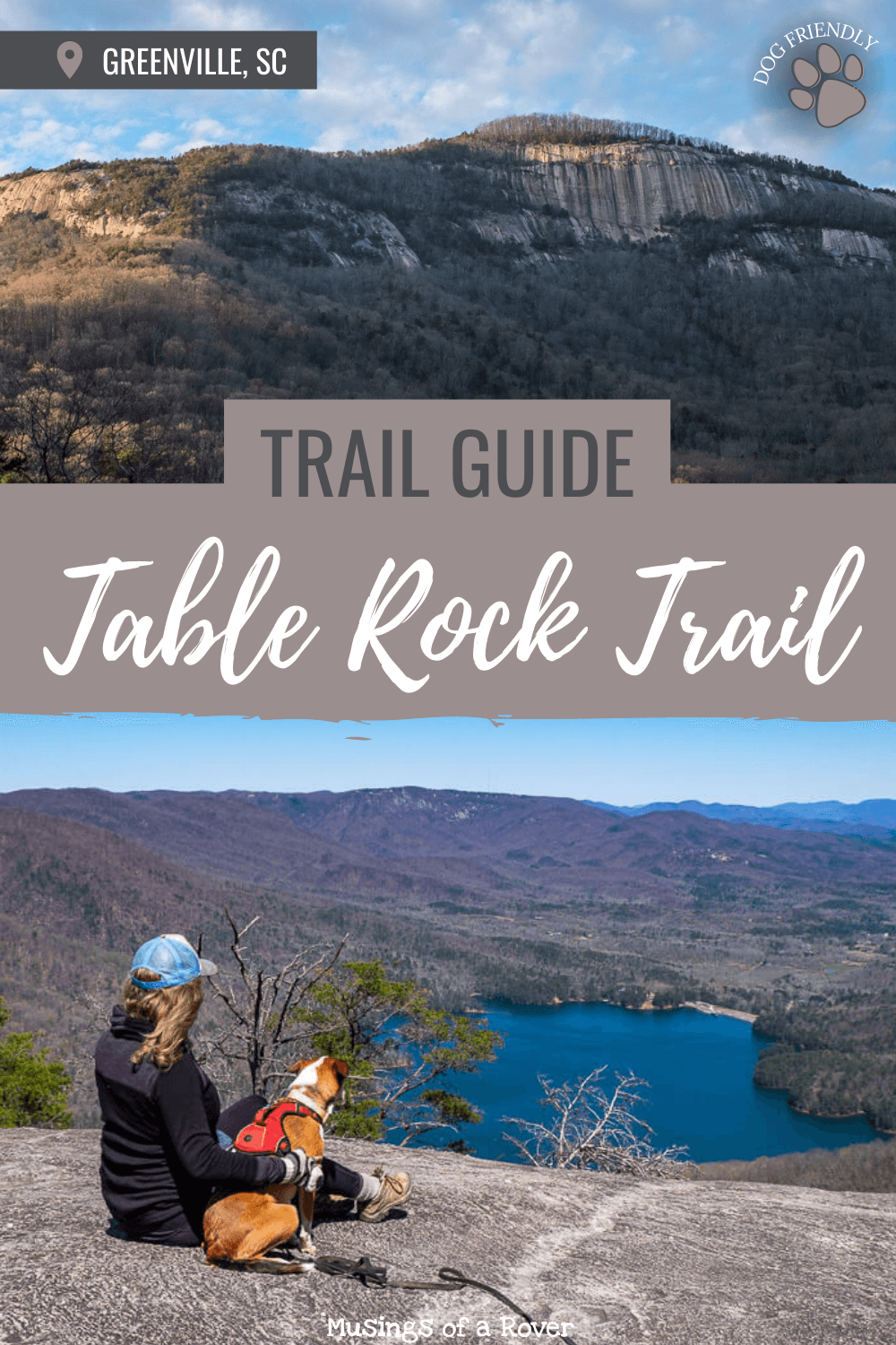 Looking for an amazing, iconic, and tough hike near Greenville, SC? Head on over to Table Rock State Park to hike the Table Rock Trail. This challenging trail will take you up to amazing viewpoint. There are several overlooks along the way. And it's dog friendly!