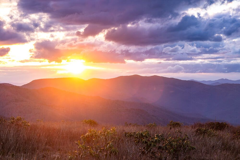 sunset at pisgah national forest