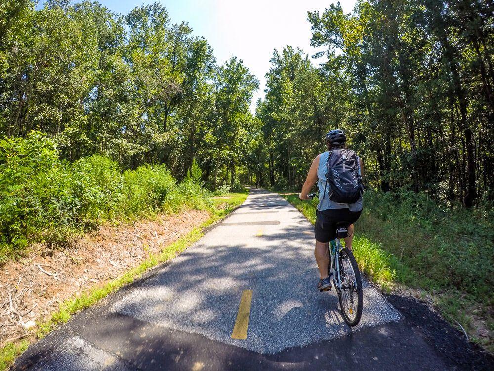 biking the swamp rabbit trail in greenville, sc