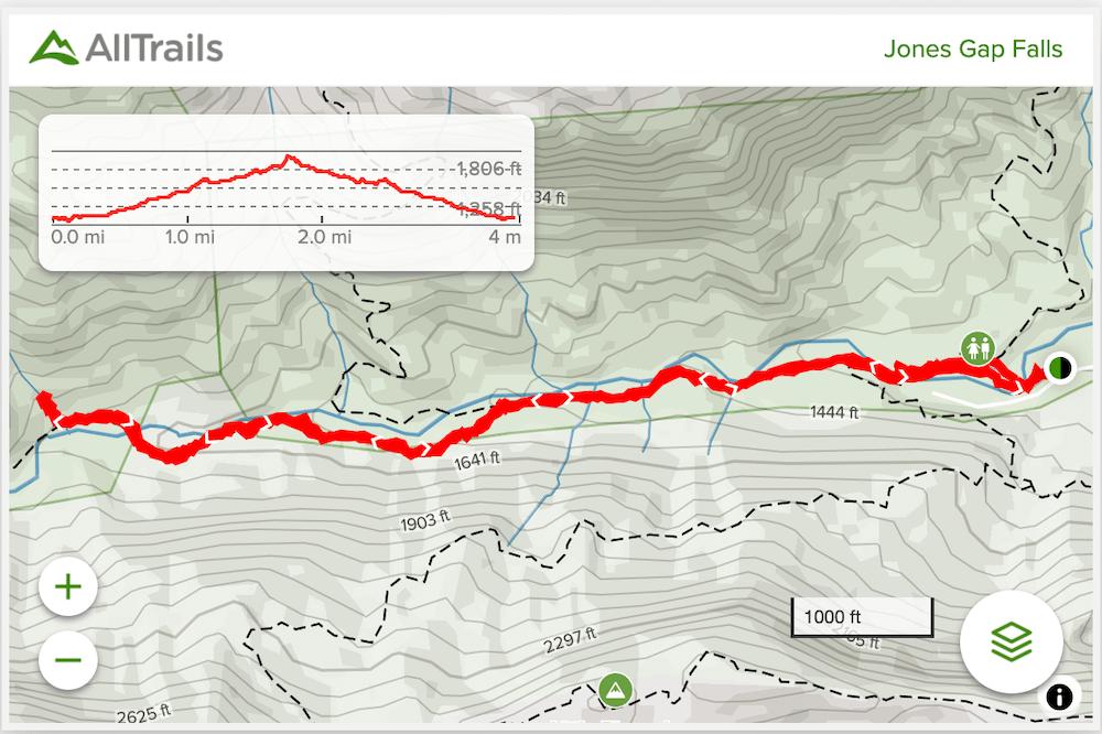 jones gap trail map
