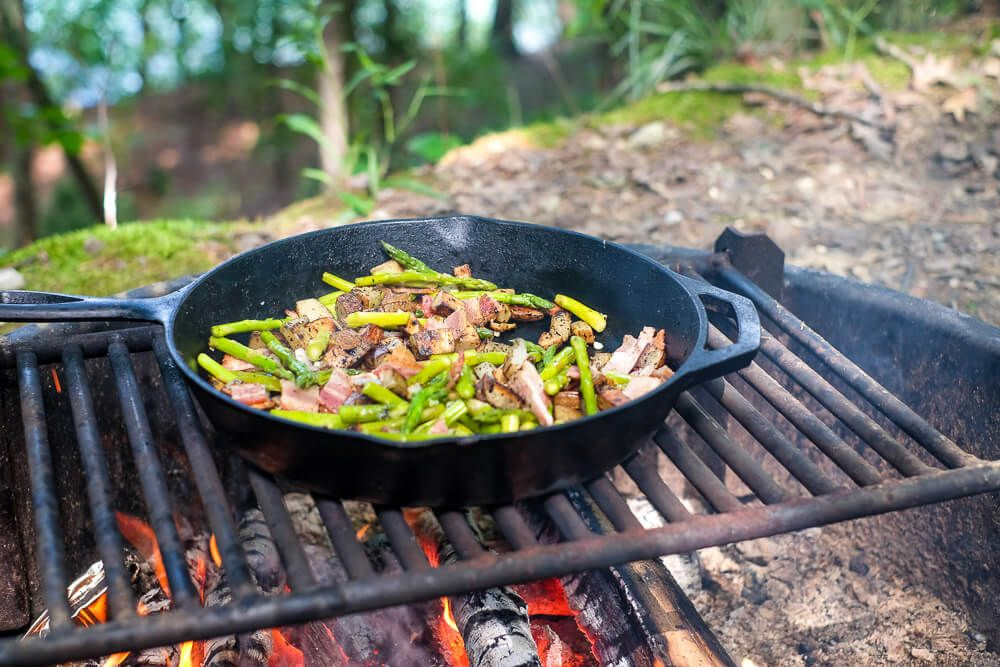 boat camping packing: cast iron