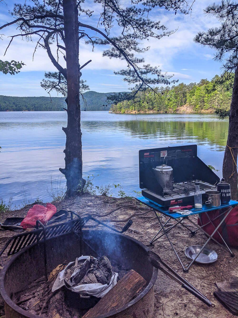boat camping packing setup